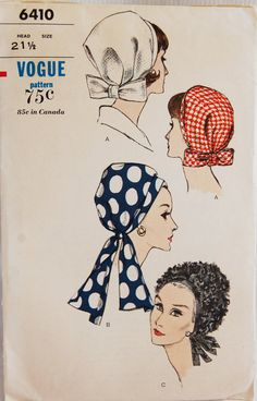 MOD HALSTON Style Draped Hats Pattern VOGUE 6410 Vintage Sewing Pattern FACTORY FOLDED- Authentic vintage sewing patterns: This is a fabulous original dress making pattern, not a copy. Because the sewing patterns are vintage and preowned, we ch 60s And 70s Fashion, Vintage Fashion, Classic Fashion, Fashion Fashion, Vintage Vogue Patterns, 60s Patterns, Dress Making Patterns, Scarf Hat, Mode Vintage