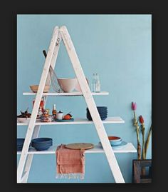 Feature Create Kitchen Shelving From a Ladder Why bother buying kitchen shelving? Here's how to whip up your own in a flash. Create Kitchen Shelving From a Ladder Why bother buying kitchen shelving? Here's how to whip up your own in a flash. Folding Ladder, Old Ladder, Wooden Ladder, Ladder Decor, Ladder Display, Vintage Ladder, Kitchen Shelves, Kitchen Storage, Diy Kitchen