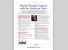 """The plan, called the """"Donald J. Trump Contract With The American Voter"""", has two parts."""