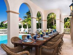 Poolside Caribbean dining