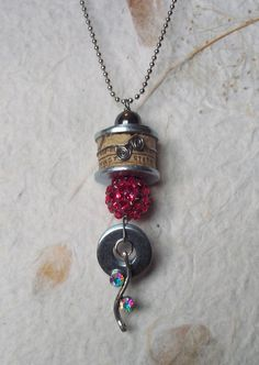 Wine cork necklace with rhine stone and washer by TammyRoseDesigns