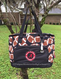 Football Themed insulated Cooler Bag - Alabama Crimson Tide inspired Logo on front - Tailgates, Sporting events, boating, beach, gifts by UniqueMemoriesLeAnn on Etsy
