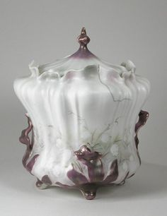 R.S. Prussia Lily of the Valley biscuit jar