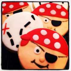 Grrr! Shiver me timber! The pirates are coming. These pirate sugar cookies are the perfect complete for a special little boy's first birthday.  Pirate Face Cookie Party Favors  Pirate Party by CookieTrayCookies, $22.00