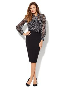 Shop Eva Mendes Collection - Isabella Bow Blouse - Polka Dot. Find your perfect size online at the best price at New York & Company.