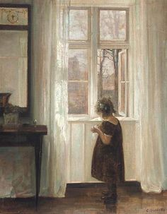 """♕ """"Inge by the Window"""" by Carl Holsoe, Danish (1863-1935), oil on canvas ~ gorgeous."""