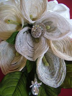 Wedding Bouquet handmade French beaded flowers and rhinestone brooches heirloom forever. $535.00, via Etsy.