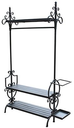 Black Metal And Wood Clothes Rail Shoe Rack And Umbrella Stand