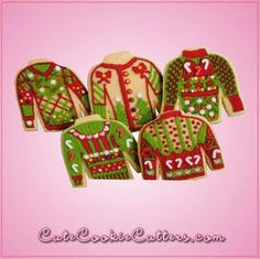 Ugly Christmas Sweater by Cheap Cookie Cutters. Our ugly Christmas sweater cookie cutter 2 is 3.5 inches tall, 3.75 inches wide, and are made of sturdy aluminum