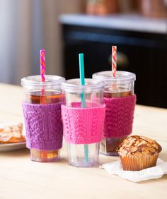 Whether your drink is hot or cold, protect your fingers with these cute cup cozies! They're sized to fit around standard to-go cups, so you'll always know which one is yours.
