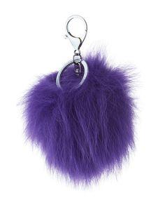 Fox Fur Pompom Bag Charm, Violet