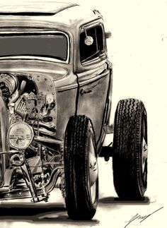 hot rod pin up drawings Rat Rods, Classic Hot Rod, Classic Cars, Ford Motor Company, Hot Rod Tattoo, Dibujos Pin Up, Muscle Cars, Pin Up Drawings, Car Tattoos