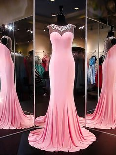 Mermaid Prom Dresses Illusion Back, Formal Dresses, Graduation Party Dresses, Banquet Gowns