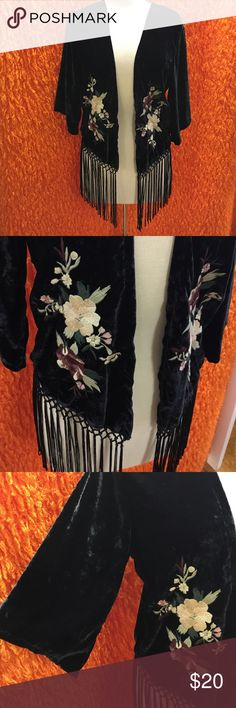 Velvet one Size Womens bolero Floral fringe Super cute Womens Kimono velvet bolero with fringe. The Floral details are gorg!! Abercrombie & Fitch Sweaters Shrugs & Ponchos