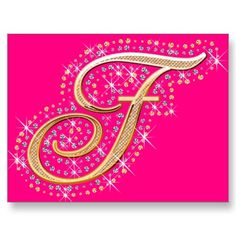 Pink Mousepad with Initial F Diamonds, Tapestry, Mousepad, Alphabet, Initials, Rugs, Gold, Cute, Hanging Tapestry