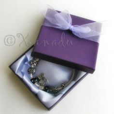 Purple Gift Box With Handmade White Organza Bowtie #xanadudesigns #pandora #bracelet #purple #beads