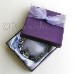 Purple Gift Box With Handmade White Organza Bowtie #xanadudesigns #pandora #bracelet #purple #beads