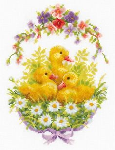 Ducklings with Daisies Printed Cross Stitch Cushion Kit by Vervaco Cross Stitch Cushion, Cross Stitch Bird, Cross Stitch Borders, Cross Stitch Animals, Counted Cross Stitch Patterns, Cross Stitch Designs, Cross Stitching, Cross Stitch Embroidery, Christmas Embroidery Patterns