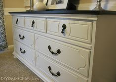 Painted dresser with stained top