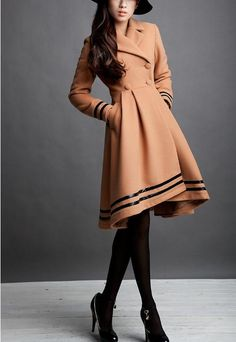 Wool winter  Coat  Camel Fitted Warm Coat  Long by clothingshow, $119.00