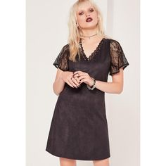 Missguided Lace Sleeve Faux Suede Dress ($16) ❤ liked on Polyvore featuring dresses, black, gothic dresses, goth dresses, lace sleeve dress, gothic lolita dress and faux suede dress