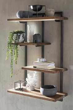 Stylish wall shelf made of teak old wood and metal in modern industrial and loft design. You can find more shelves and furnishing ideas on # hanging rule # bookshelf wandregal Wall Hanging Shelves, Wood Wall Shelf, Wall Shelves Design, Wood And Metal Shelves, Wall Shelving, Shelving Ideas, A Shelf, Steel Furniture, Diy Furniture