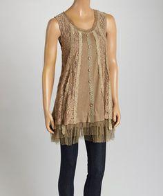 Loving this Pretty Angel Ecru Ruffle Linen-Blend Tunic Dress on #zulily! #zulilyfinds