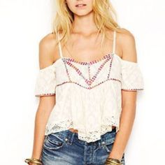 💥Reduced💥Free People boho top Beautiful boho top from free people. Ivory with maroon green and peach embroidery and lace crochet along the bottom hem. Straps are remove able so can be worn with or without as soon in pictures. Gray not available, just Ivory. Offers welcome! Free People Tops