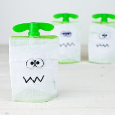 GoGo squeeZ Mummy Pouches   from The Nerd's Wife   Need a super-fast idea for a school Halloween party? This healthy snack doubles as a craft activity!
