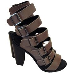 Pre-owned Kelsi Dagger New Lupita Gladiator Boots 9-1/2 Rock Gray... ($129) ❤ liked on Polyvore featuring shoes, sandals, rock gray, leather ankle strap sandals, grey sandals, ankle wrap sandals, chunky-heel sandals and gray gladiator sandals