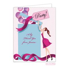 9d76883d6132 Bonnie Marcus Balloon Gift Girl (Brunette) Thank You Note. Holiday Party  InvitationsBirthday InvitationsBridal Shower ...