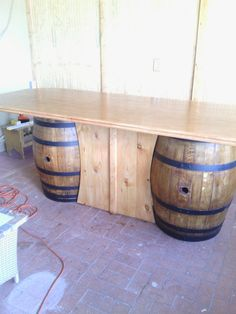 Wine Barrel Chairs, Whiskey Barrel Furniture, Diy Pallet Furniture, Rustic Furniture, Tonneau Bar, Whiskey Barrel Bar, Rustic Basement Bar, Main Entrance Door Design, Barris