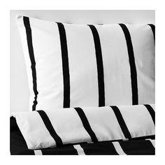 IKEA - TUVBRÄCKA, Funda nórd y 2 fundas almohada, 240x220/50x60 cm, , Si lo miras de cerca verás que las líneas no son del todo rectas, ya que el diseñador las pintó a mano.Como la funda nórdica tiene colores diferentes en cada lado, te resultará fácil cambiar el aspecto de tu dormitorio.Los corchetes a presión ocultos mantienen el edredón en su sitio.