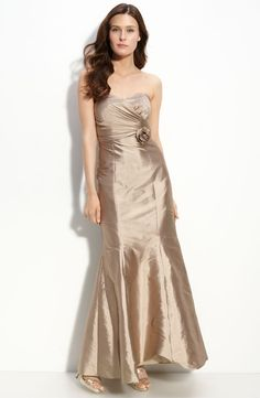 Bridesmaids Dresses - JS Boutique Bead Trim Strapless Chiffon Gown A wavy bead design wraps the Empire waist of a floaty silk chiffon gown. Fully line