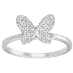 Field Butterfly Ring, White, Rhodium plating Jewellery (£49) ❤ liked on Polyvore featuring jewelry, rings, stackers jewellery, butterfly jewelry, stackers jewelry, pave jewelry and pave stacking rings