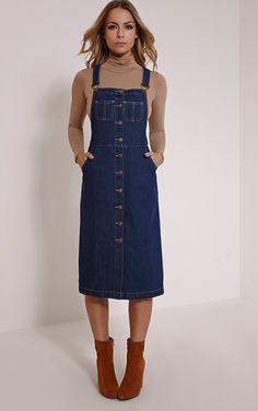 e69f13581d2 Dolly Indigo Denim Button Front Pinafore Dress