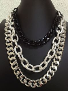 Black and Silver Chunky Chain Necklace by seejewelryonline on Etsy.