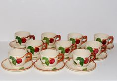 Vintage Franciscan Ware Apple Tea Cups & Saucers, Set Of 10