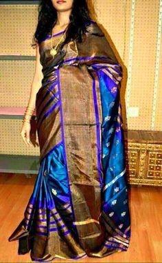Blue with Gold Uppada Saree