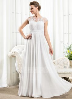 A-Line/Princess Scoop Neck Floor-Length Chiffon Wedding Dress With Ruffle Beading Appliques Lace Sequins (002056526)