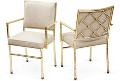 Bamboo-Style Brass Dining Chairs, Pair  $1,699.00  $3,600.00    Condition: Vintage, antique, or gently used