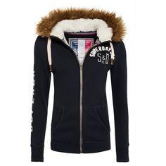 Superdry Nordic Arctic Zip Hoodie ($99) ❤ liked on Polyvore featuring tops, hoodies, navy, women, zip hoodies, black hooded sweatshirt, cotton hooded sweatshirt, navy hoodie and black hoodie