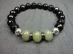 Madagascar Agate Gemstone, Labradorite, Hematite and Sterling Silver Beaded Bracelet/Unisex