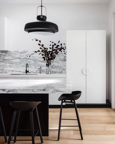 """77 Likes, 4 Comments - ◇ JESS O'SHEA ◇ (@jessosheadesigns) on Instagram: """"◇ L U X U R Y  K I T C H E N ◇ Ummm wow  The marble benchtops and splash look stunning against the…"""""""