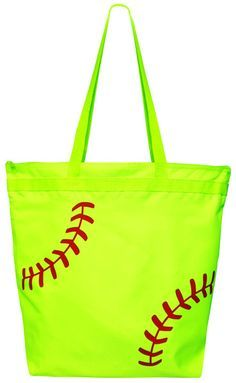 Softball Laces Tote Bag. You've got everything on hand in a stylish softball bag. Be the envy of everyone at the game with this softball gift for girls.