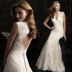 Real photo Top selling New Year wedding dress 2015 Lace Mermaid Vintage court train wedding gown Elegant White Cheap Bridal Gown Tulle Wedding Dresses, Cheap Wedding Dress, Wedding Gowns, Bridesmaid Dresses, Ivory Wedding, Backless Wedding, Dress Prom, Keyhole Back Wedding Dress, Wedding Venues