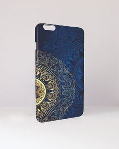 Blue and Gold Phone Case by MacBookCasesandCo on Etsy