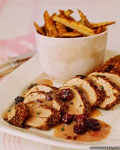 Mustard-Rubbed Pork with Blackberry-Mustard Sauce and Spiced Oven Fries - Whole Living Eat Well