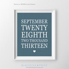 Valentines Personalized Anniversary Gift Custom Engagement Navy Blue Special Dates Print Wedding Date Important Dates Print Bridal Shower