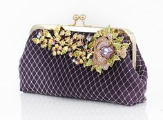 Eggplant Purple Clutch with Statement Rhinestone Brooch  by ANGEEW, $140.00 #bridal #bridalclutch #rhinestoneclutch